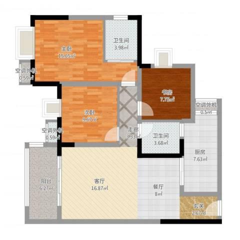 升伟新时空3室1厅2卫1厨126.00㎡户型图