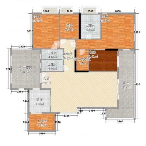 千灯湖一号公馆4室1厅3卫1厨246.00㎡户型图