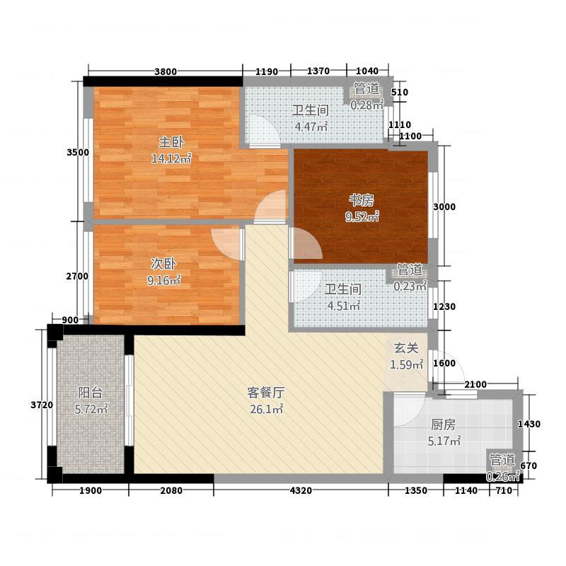 亿家・龙景名都115.20㎡C户型3室2厅2卫1厨
