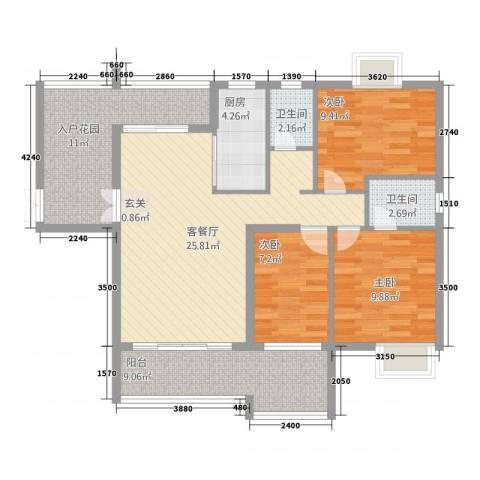 颐和山庄3室1厅2卫1厨117.00㎡户型图