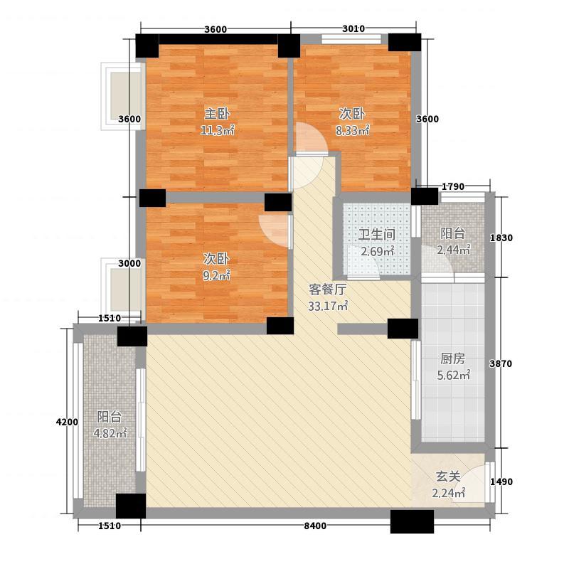 富乐领江14.75㎡B6户型3室2厅1卫1厨