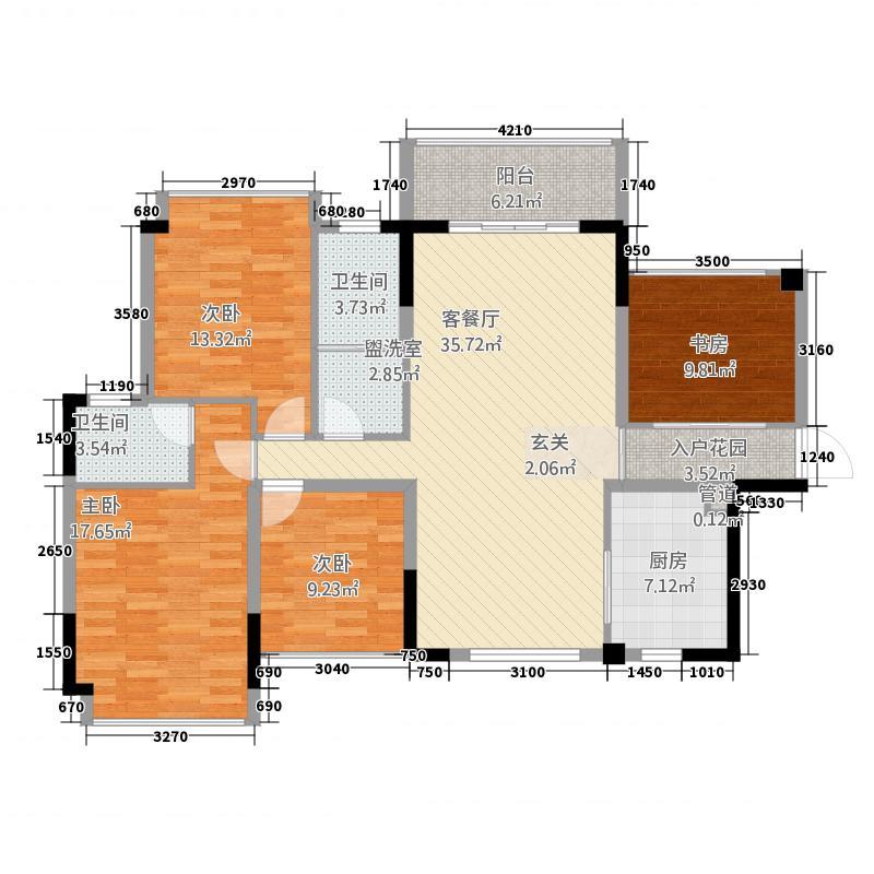 湘辉・壮锦花园12.00㎡D户型4室2厅2卫1厨