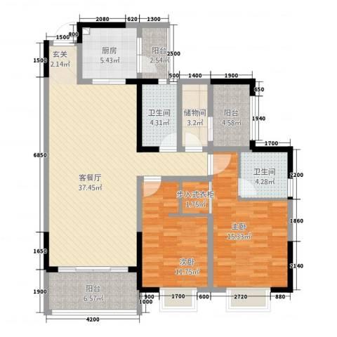 世通和府2室1厅2卫1厨97.18㎡户型图