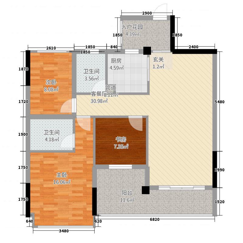 湘辉・壮锦花园4.00㎡A户型3室2厅2卫1厨