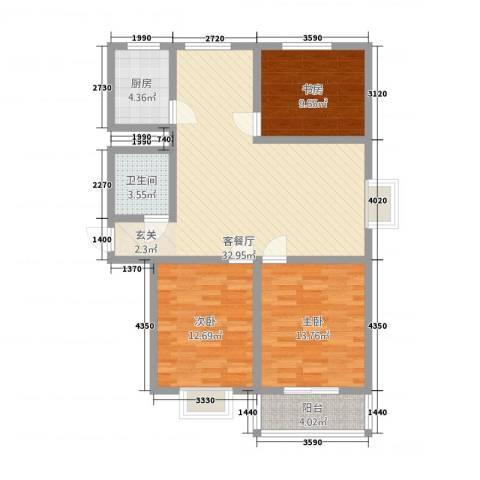 领世郡3室1厅1卫1厨117.00㎡户型图