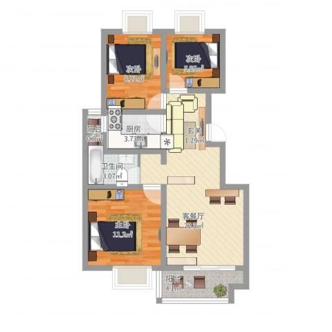 海纳・现代城二期3室1厅1卫1厨88.00㎡户型图