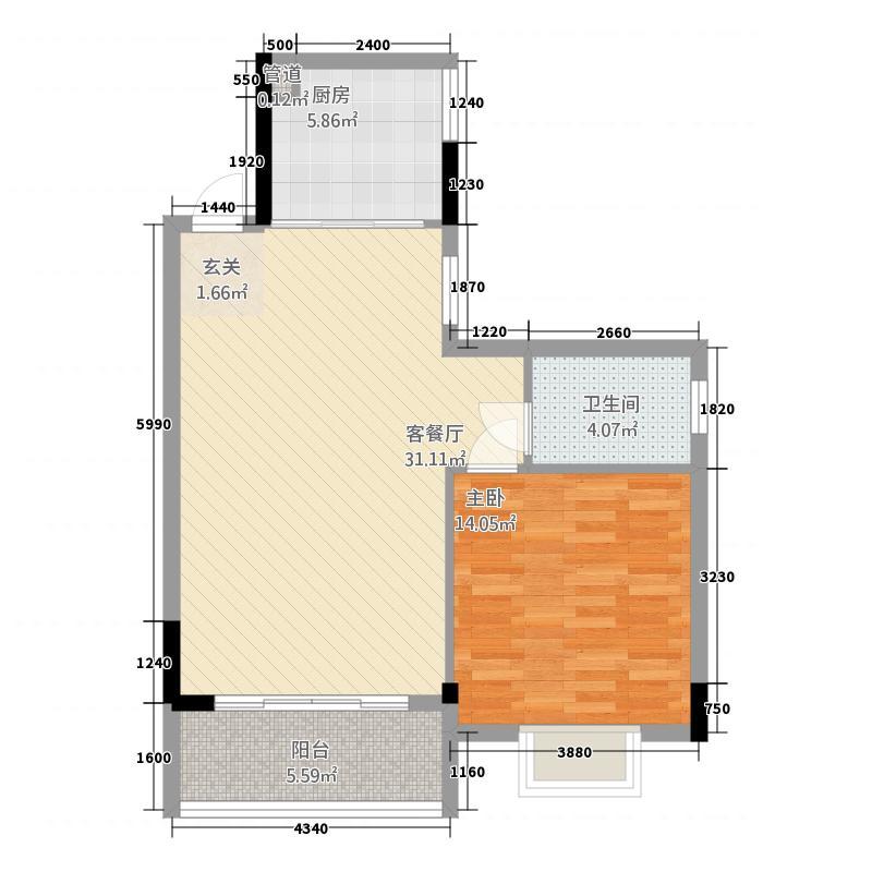 利泰公寓85.00㎡户型2室
