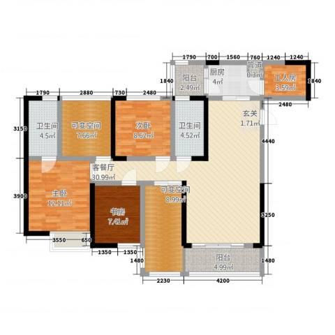 金辉融侨半岛云满庭B区3室1厅2卫1厨148.00㎡户型图