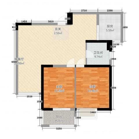 凯铂精品酒店2室1厅1卫1厨88.00㎡户型图