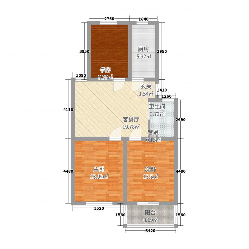 新安花园4.00㎡C-3户型3室1厅1卫1厨