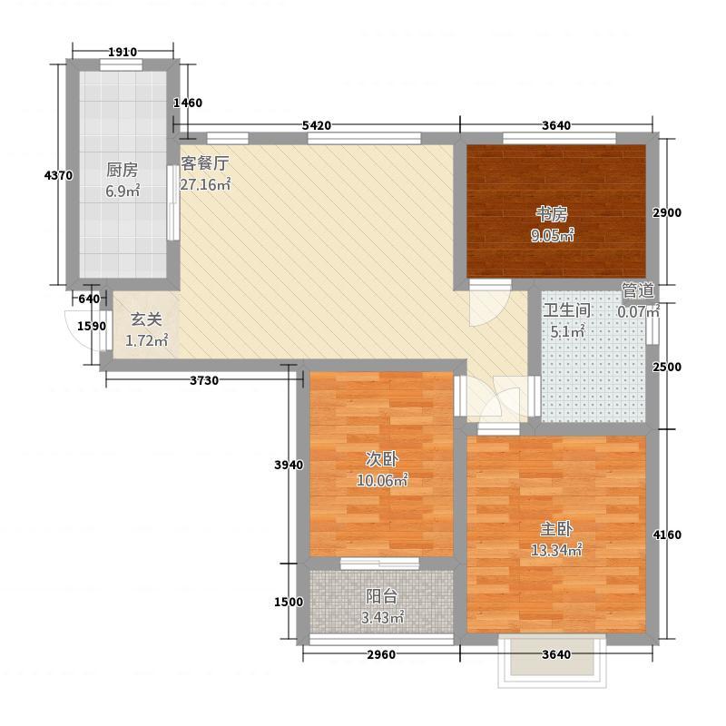 御福华园2户型3室2厅1卫1厨