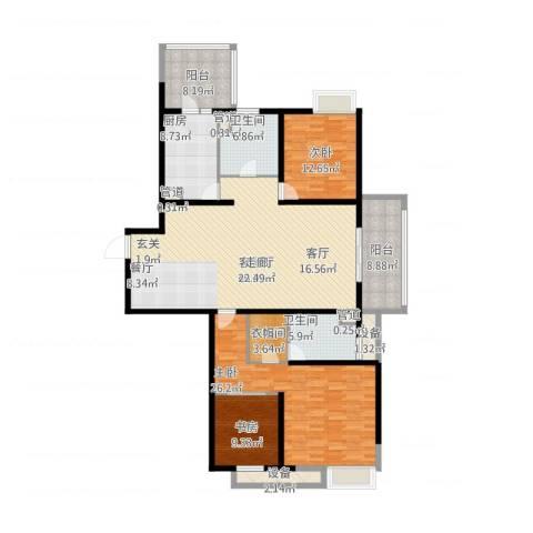 绿地21城A区3室1厅2卫1厨204.00㎡户型图