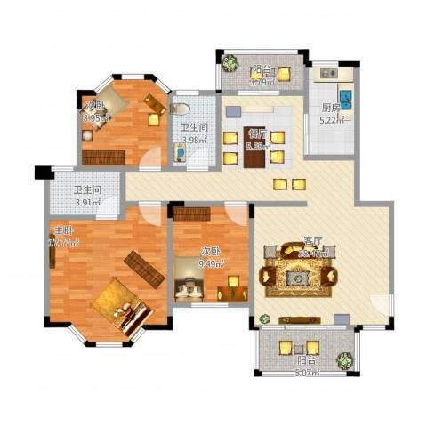 南沙碧桂园3室1厅2卫1厨135.00㎡户型图