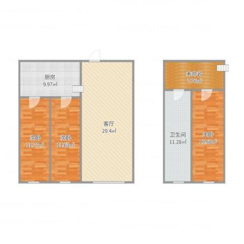 幸福E家五期3室1厅1卫1厨128.00㎡户型图