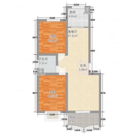 青青新城2室1厅1卫1厨62.22㎡户型图