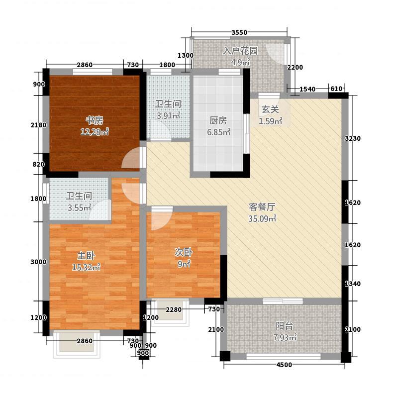 波尔卡城邦23216.77㎡A户型3室2厅2卫1厨
