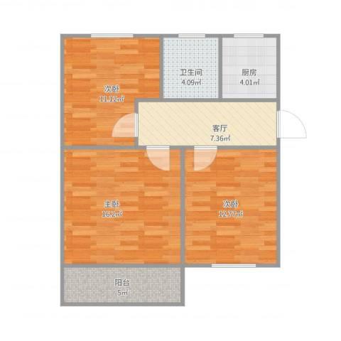 东井二村3室1厅1卫1厨82.00㎡户型图
