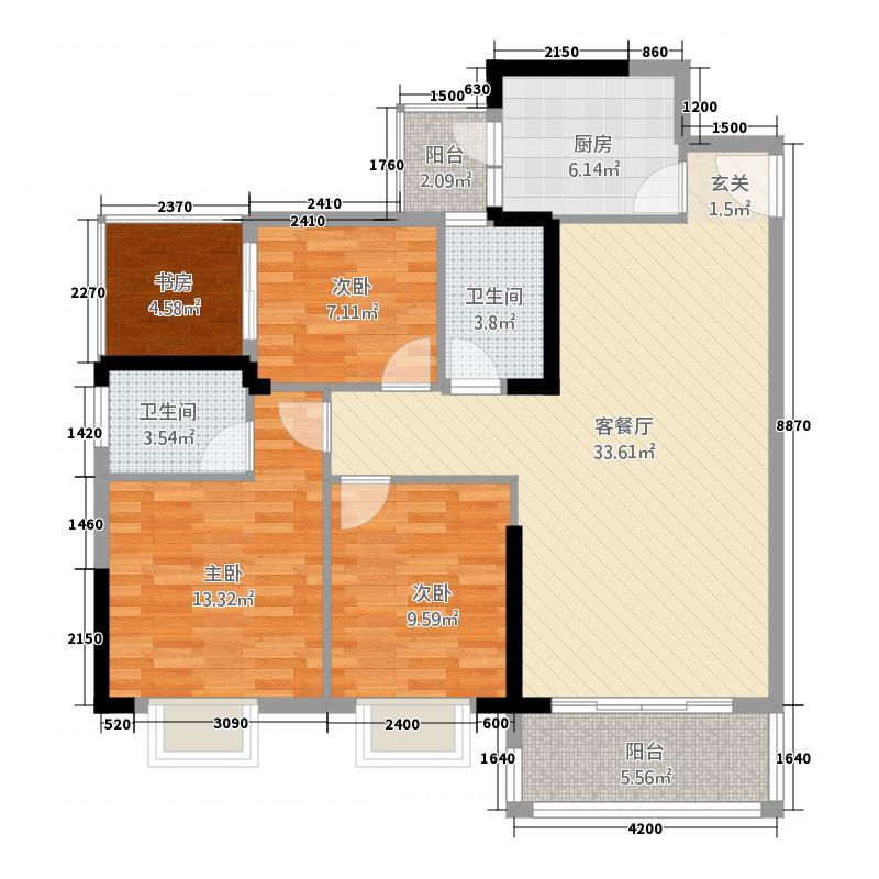 恒丰普罗旺斯3114.57㎡03号/户型3室2厅2卫
