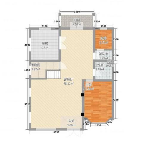 济南玫瑰园新城2室2厅1卫1厨251.00㎡户型图