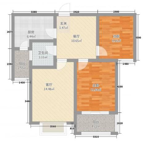 明日星城二期-臻庭2室2厅1卫1厨92.00㎡户型图