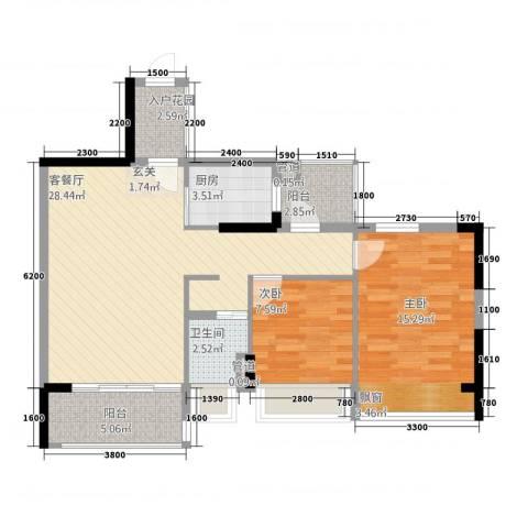 顺府江南2室1厅1卫1厨68.08㎡户型图