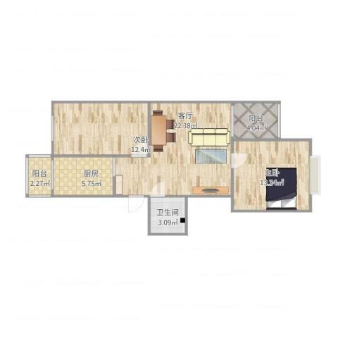 天通苑本五区2室1厅1卫1厨85.00㎡户型图