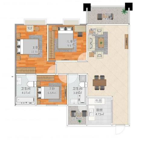 富泽豪庭3室1厅2卫1厨103.00㎡户型图