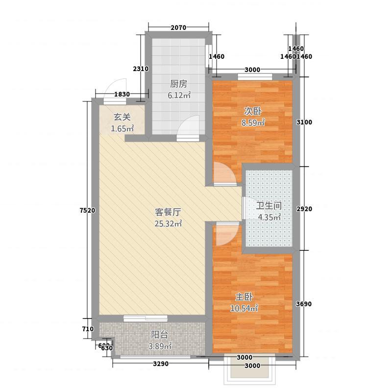 世贸大厦城市综合体85.75㎡户型2室2厅1卫1厨