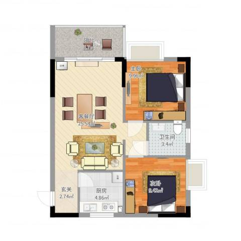 鼎湖森邻2室1厅1卫1厨83.00㎡户型图