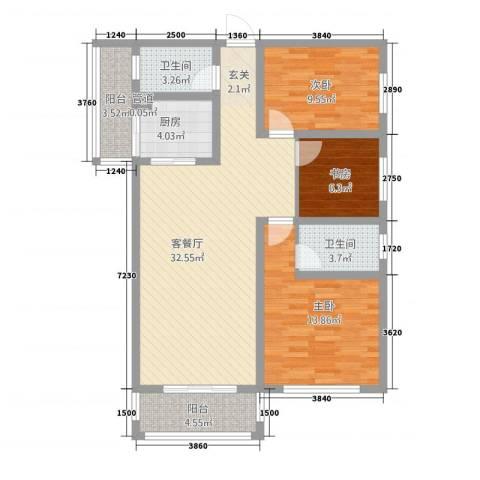 圣苑・林居3室1厅2卫1厨119.00㎡户型图