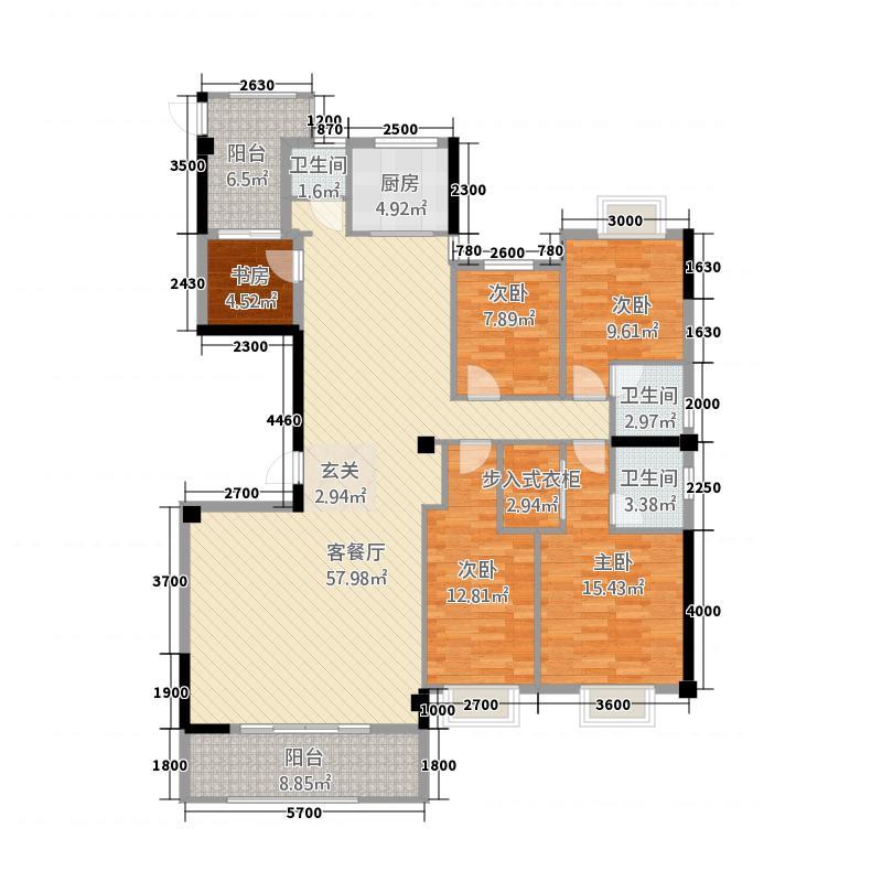 国际商品城三期尚东一品北区11栋04单元、12栋01单元户型5室2厅3卫1厨
