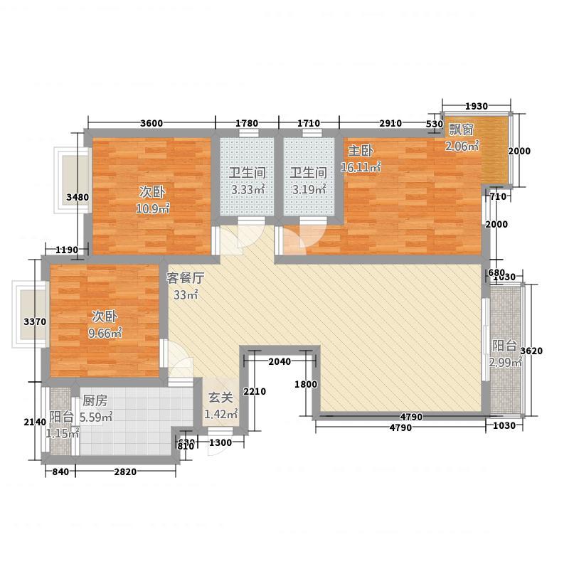 东奎・城市家园121.82㎡B户型3室2厅2卫1厨