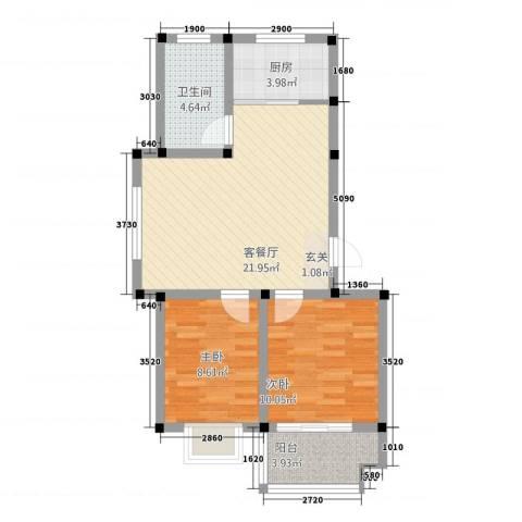 王侯嘉苑2室1厅1卫1厨77.00㎡户型图