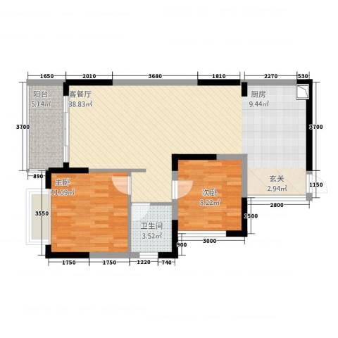 中珠・在水一方2室1厅1卫0厨84.00㎡户型图
