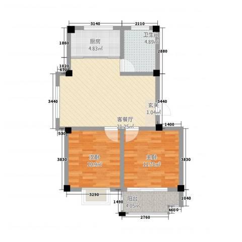 王侯嘉苑2室1厅1卫1厨83.00㎡户型图