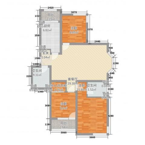凯旋帝景3室1厅2卫1厨122.00㎡户型图