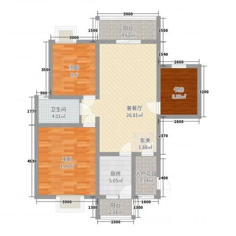 盛世融城二期3室1厅1卫1厨113.00㎡户型图