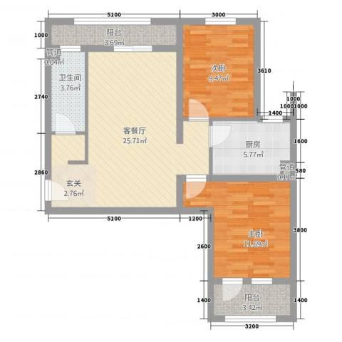 世纪城2室1厅1卫1厨63.66㎡户型图