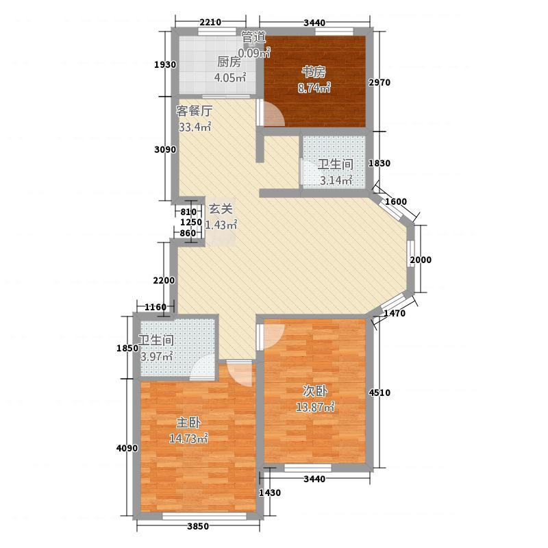 龙城国际花园116.00㎡户型3室3厅2卫