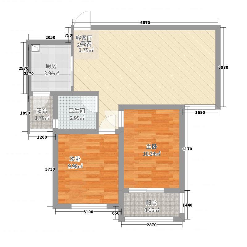 华洋瑞泰金域湾84.00㎡84户型2室2厅2卫1厨