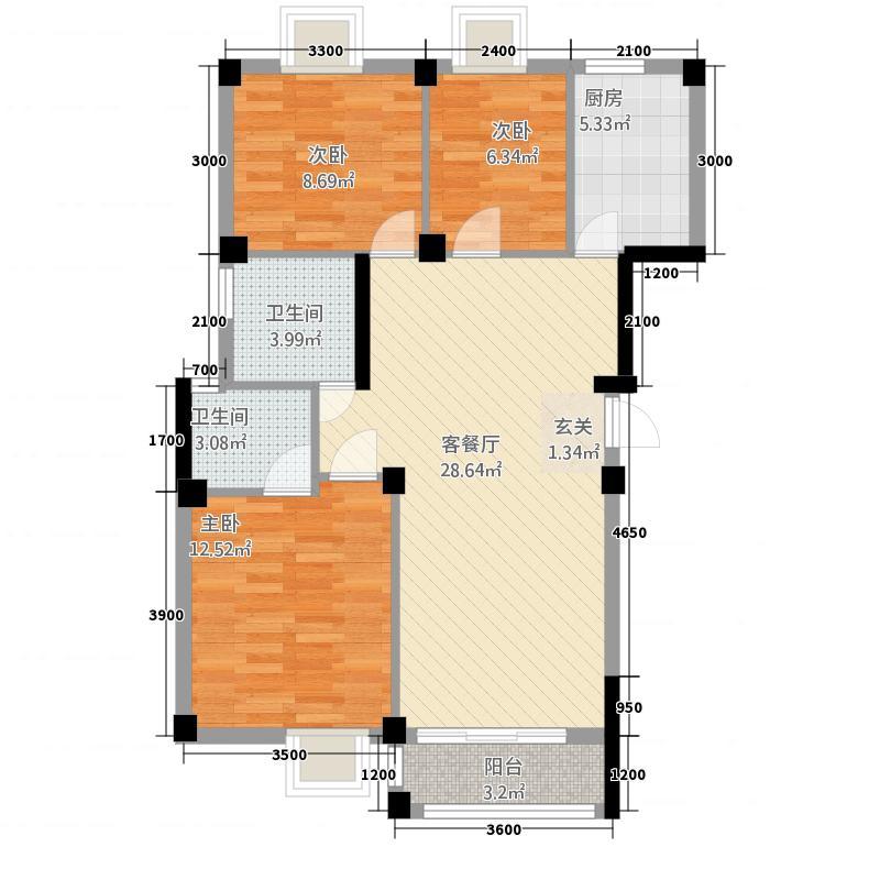 太阳城322户型3室2厅2卫1厨