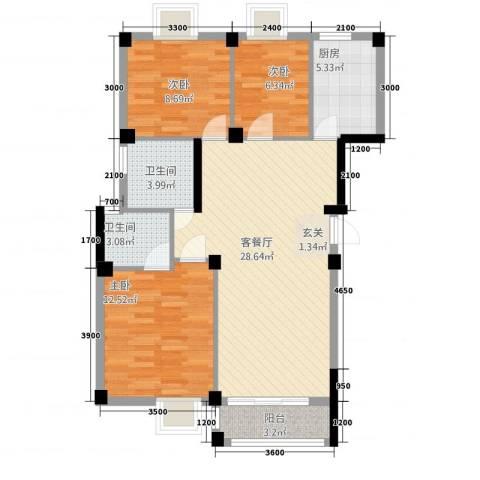太阳城3室1厅2卫1厨102.00㎡户型图