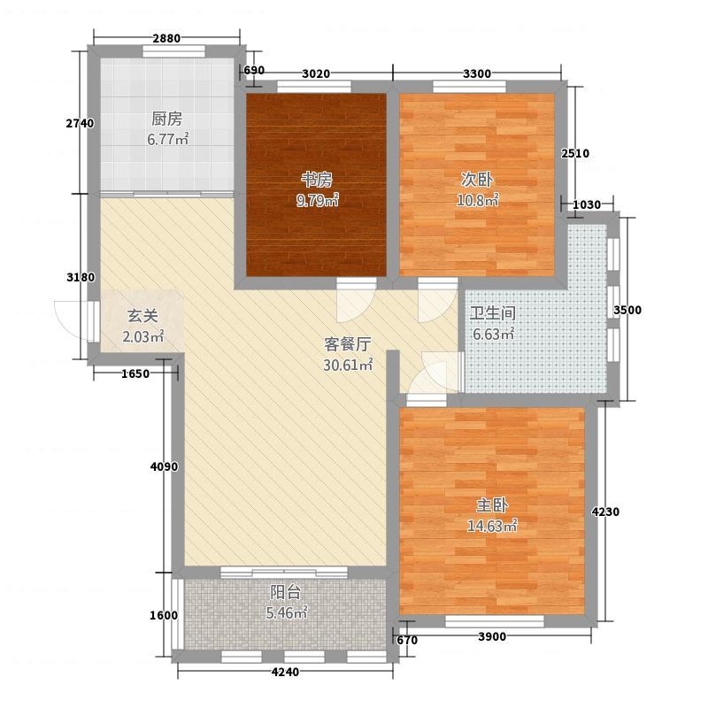 华洋瑞泰金域湾121.00㎡户型3室2厅1卫1厨