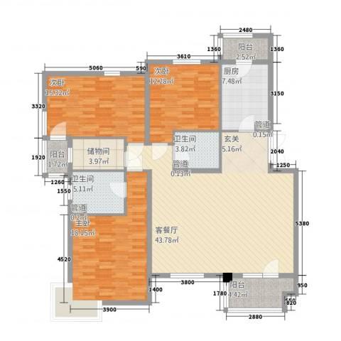 金色漫香林别墅3室1厅2卫1厨167.00㎡户型图