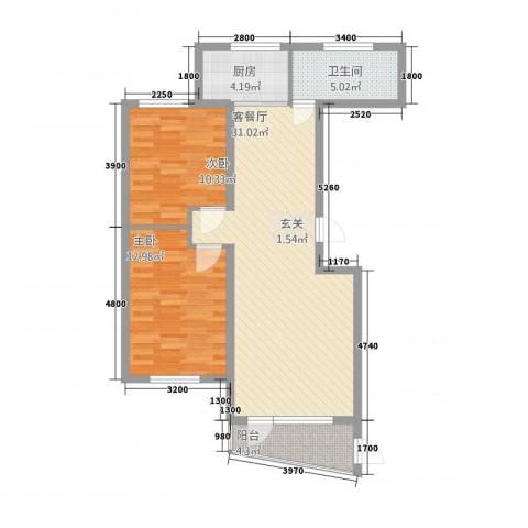 宝地・东晟花园2室1厅1卫1厨96.00㎡户型图