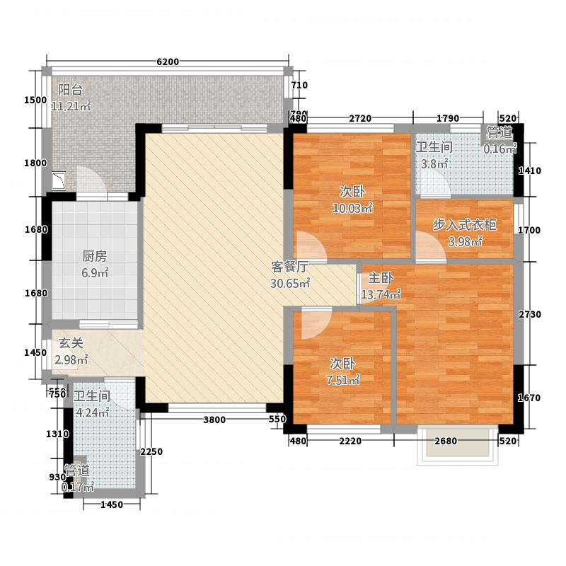 泸州恒大・御景湾123.45㎡户型3室2厅2卫1厨