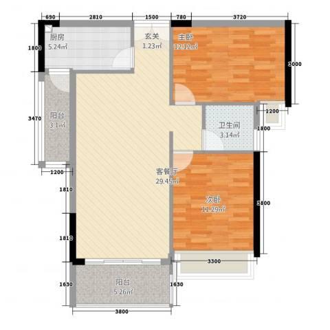 海韵华庭2室1厅1卫1厨69.62㎡户型图