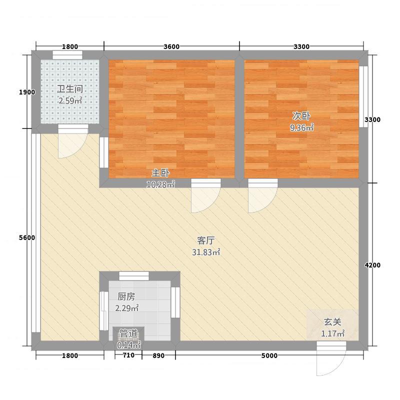 西河南岸66.48㎡D4户型2室1厅1卫1厨