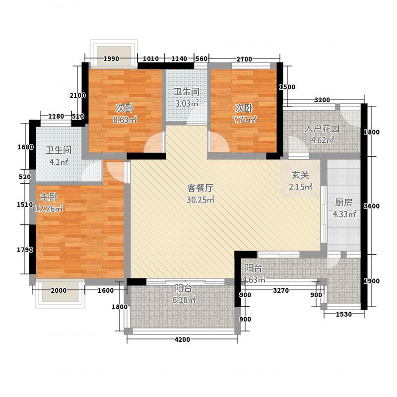 金域华府131611.20㎡1-3/1-6户型3室2厅2卫1厨