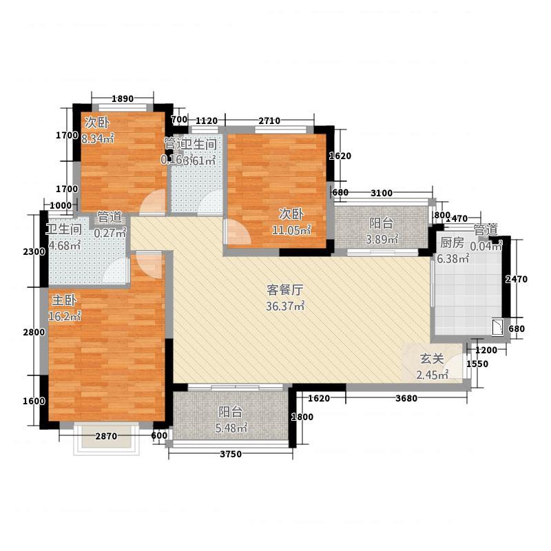 泸州恒大・御景湾128.50㎡户型3室2厅2卫1厨